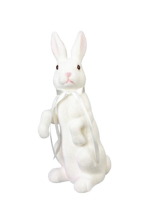 White Velvet Standing Bunny Figurine