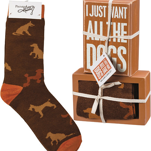 I Just Want All the Dogs Box Sign & Sock Set