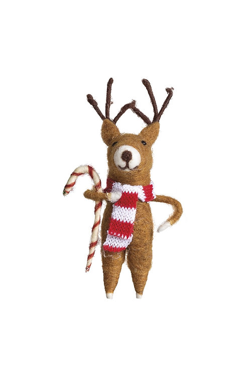 Reindeer with Candy Cane Ornament