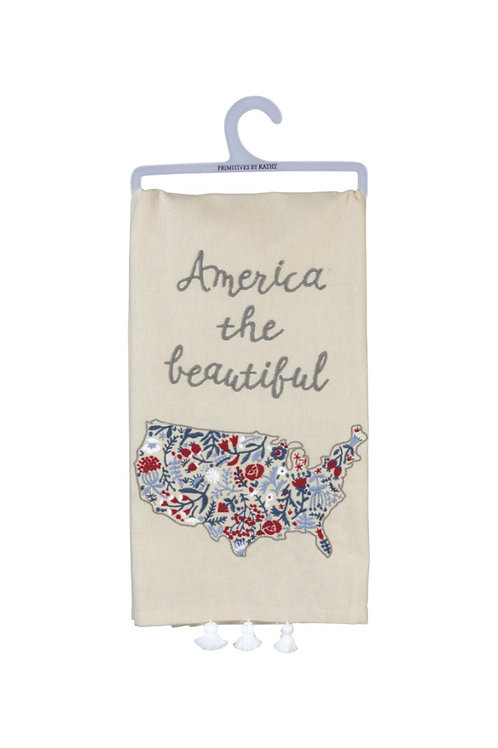 Embroidered America the Beautiful Dish Towel
