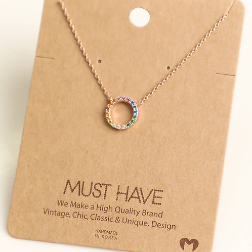 Rainbow Circle Pendant Necklace