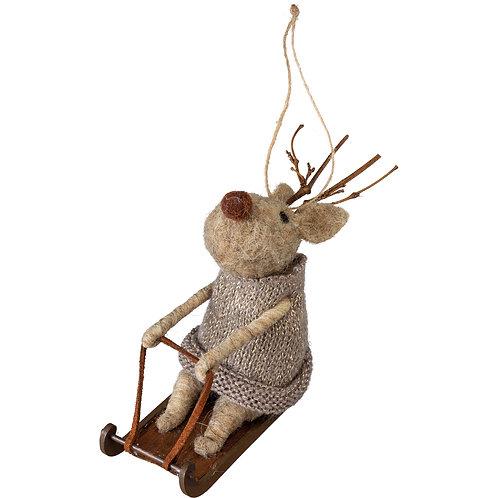 Sledding Reindeer Ornament