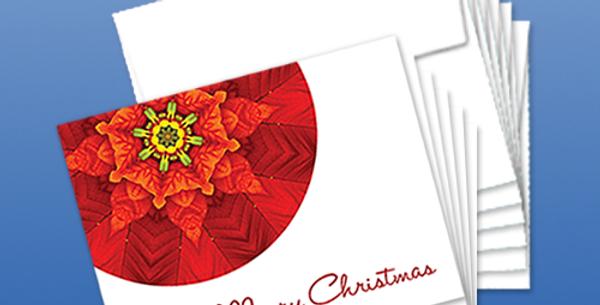 11096P: (6-Pack) Christmas Poinsettia Mandala, White Background