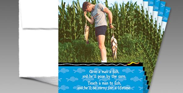 "09022P: (6 Pack) A Corny ""Teach a Man to Fish"" Birthday"