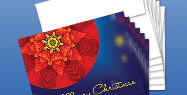 11097P: (6-Pack) Christmas Poinsettia Mandala, Glow Background