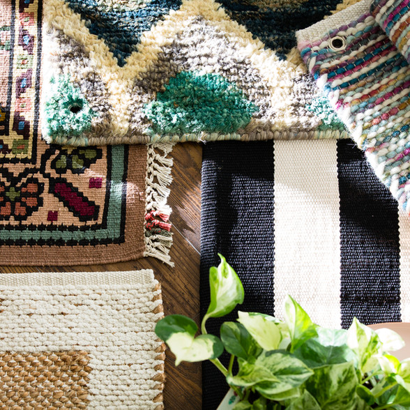 Product photography of rugs for an interior design small business in Omaha, Nebraska.  Commercial, advertising photography.