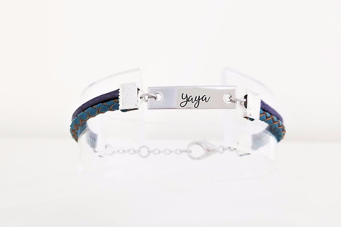 Two Strand, Round Leather Bracelet  - YOUR TEXT -