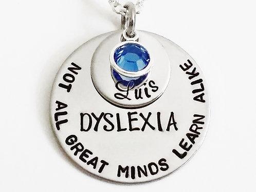 Dyslexia Pendant with Name & Birthstone