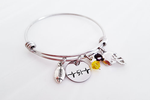 Heartbeat Football Bangle