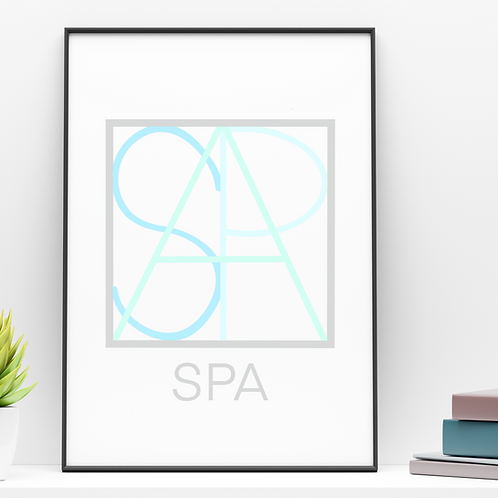 Geometric logo SPA Blue, Spa decor, SPA printable sign, digital download
