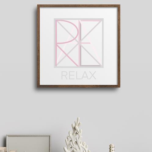 Geometric logo RELAX Blush, Spa decor, RELAX printable sign, digital download