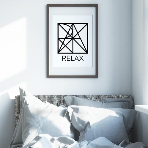 Geometric logo RELAX Black, Spa decor, RELAX printable sign, digital download