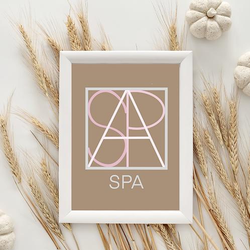Geometric logo SPA Blush, Spa decor, SPA printable sign, digital download