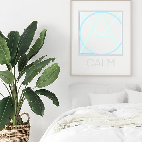 Geometric logo CALM Blue, Spa decor, CALM printable sign, digital download