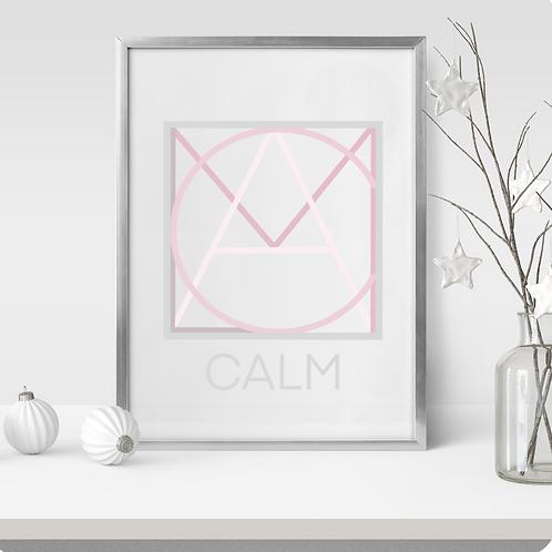 Geometric logo CALM Blush, Spa decor, CALM printable sign, digital download