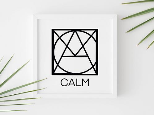 Geometric logo CALM Black, Spa decor, CALM printable sign, digital download