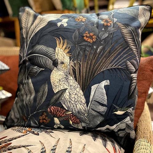 Coussin KUALA LUMPUR perroquet - Tissu velours