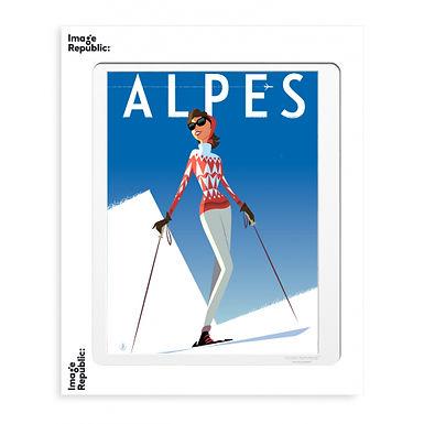 Tirage MONSIEUR Z ALPES FILLE ROUGE 40x50 cm