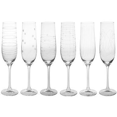Ensemble 6 flutes à champagne GRAPHIK