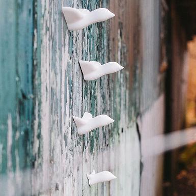 Set de 4 Oiseaux décoratifs en céramique blanche