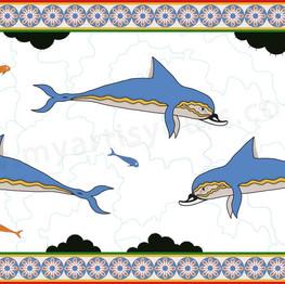 Greek dolphin fresco stock image illustration