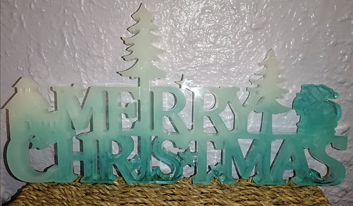 Blue and white large merry Christmas sign