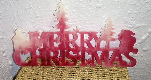 Red and white large merry Christmas sign