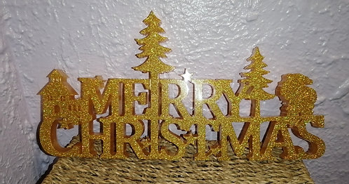 Large gold merry Christmas sign
