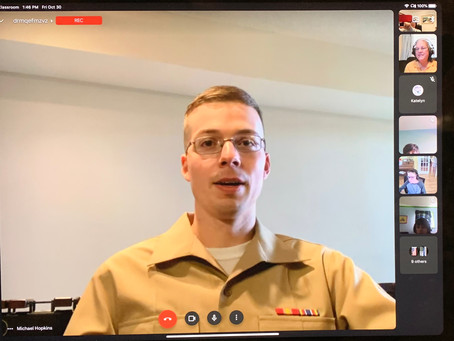 Middle School Band Students Enjoy Virtual Meeting with U.S. Marine Band Percussionist
