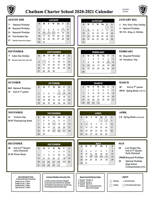 Chatham Charter Academic Calendar 2020-2