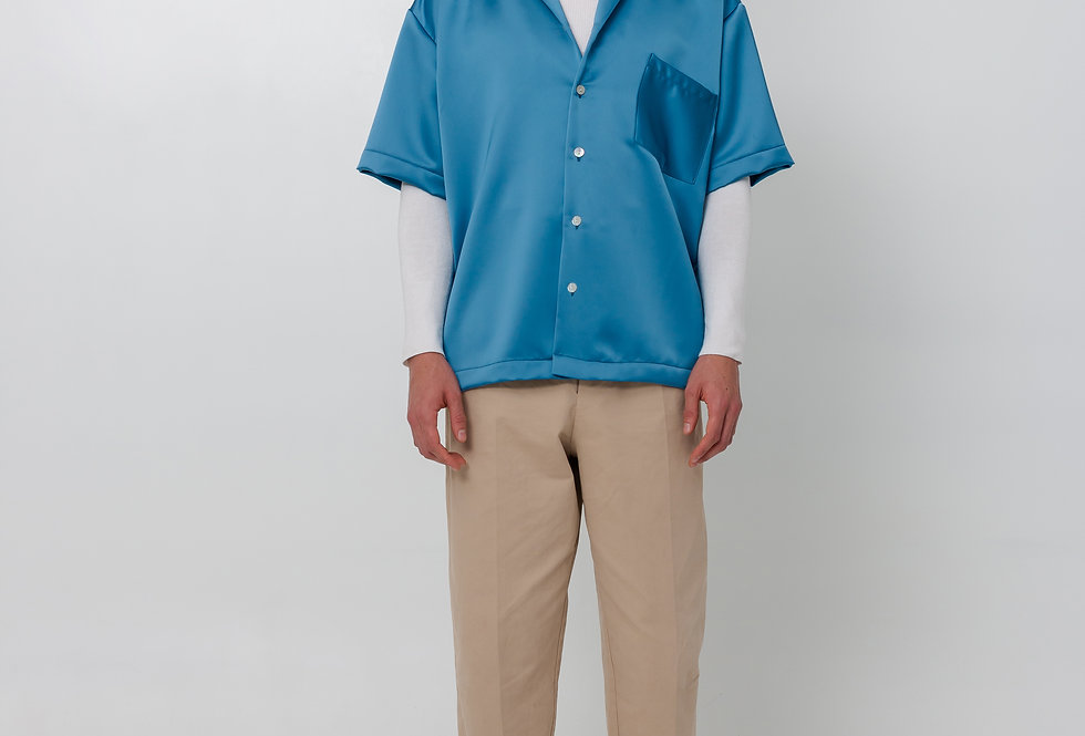 Satin shirt - Pearl Blue
