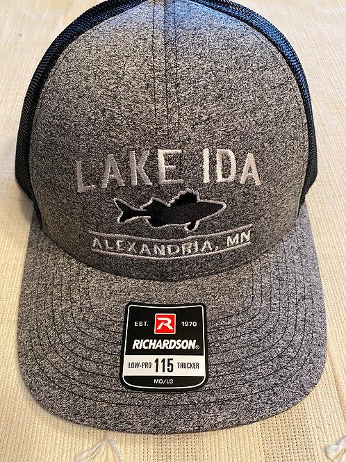 Walleye trucker hat - black/grey