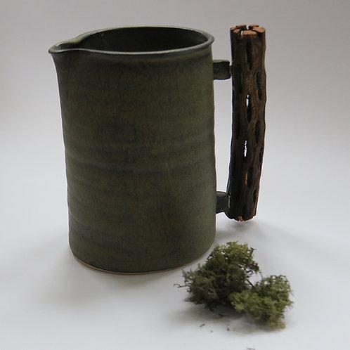 Stoneware & catus wood jug