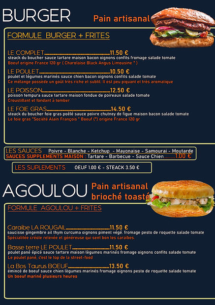 Menu Burger et Agoulou