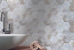"Revere Natural 3"" Hex Mosaic Room Scene"