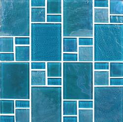 Piazza Turquoise Random Glass Mosaic