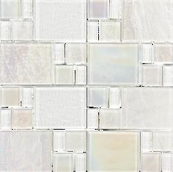 Piazza White Random Glass Mosaic