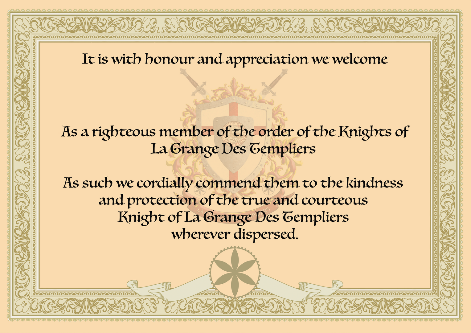 Certificate of Knighthood.