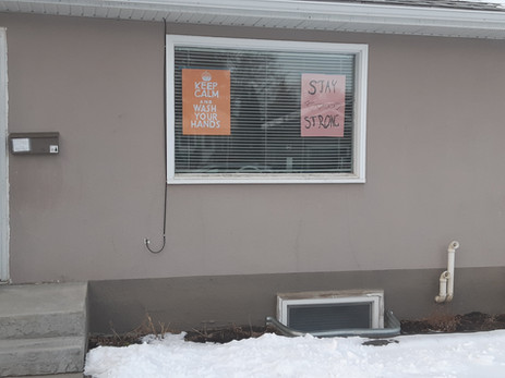 Saskatoon March 24, 2020  Kids window artwork made shortly after schools closed.