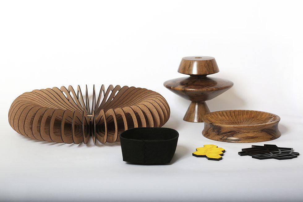 a selection of In Doi's home accessories that are digitally fabricated mixed with those that are hand crafted