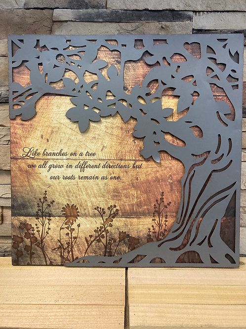 Iron tree wall plaque