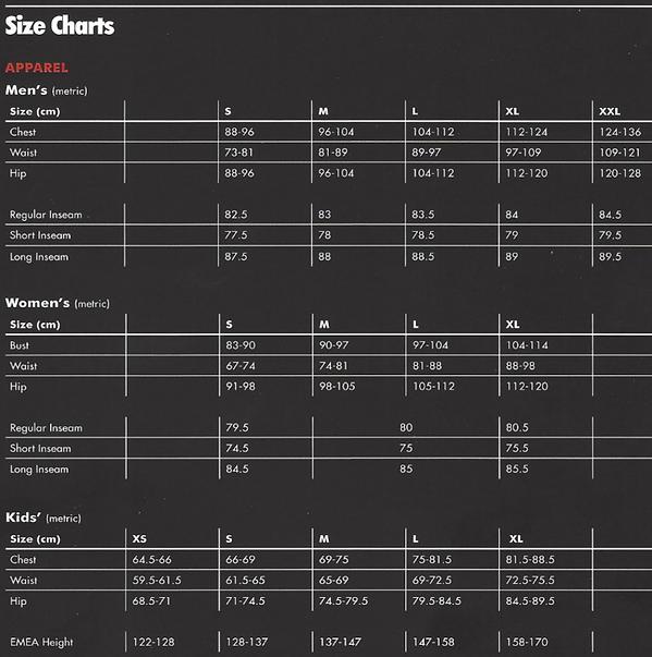Nike sizing chart apparel