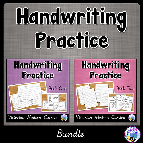 Australian Handwriting Practice Victorian Modern Cursive Book 1 and 2 Bundle