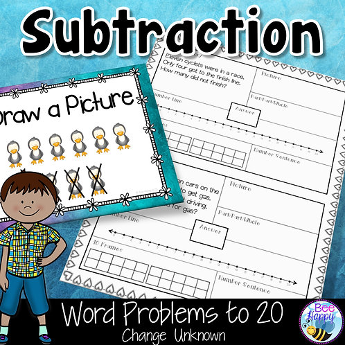 Subtraction Word Problems to 20 Change Unknown