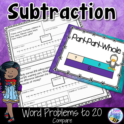 Subtraction Word Problems to 20 Compare