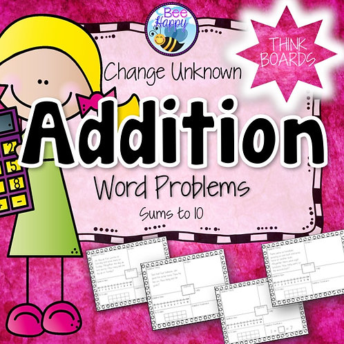Addition Word Problems Change Unknown Sums to 10