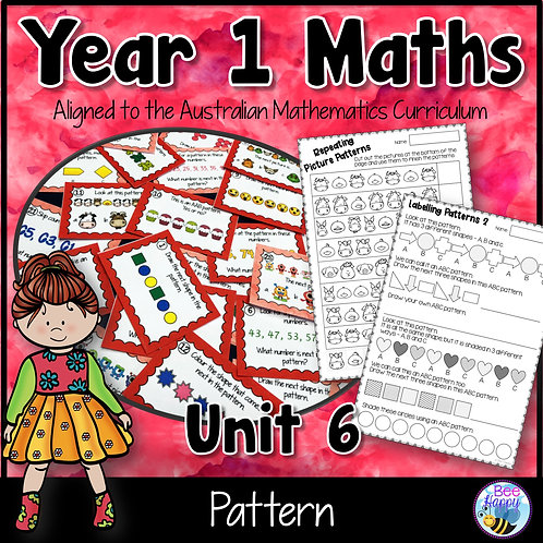 Year 1 Maths Unit 6 Pattern Worksheets and Task Cards