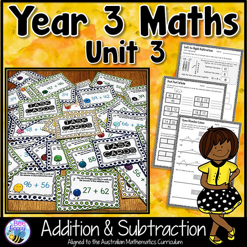 Year 3 Maths Unit 3 Addition and Subtraction Worksheets and Task Cards