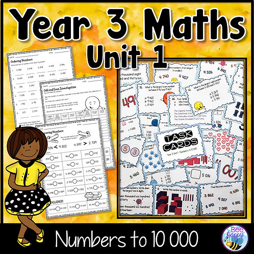 Year 3 Maths Unit 1 Numbers to 10 000 Worksheets and Task Cards