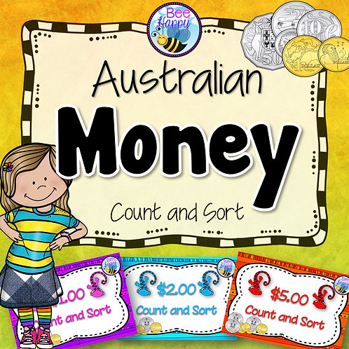 Australian Money Task Cards Count and Sort